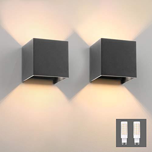 Klighten 2er Wandleuchte Innen/Aussen Modern Up Down Design 9W LED Wandlampe Mit Einer Ersetzbaren G9 LED Birne, IP54 Wasserdichte Außenwandleuchten 3000K Warmweiß, Dunkelgrau