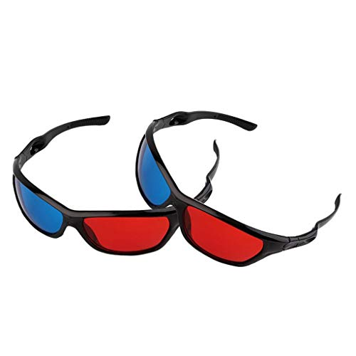 #N/A/a 2X Gafas 3D con Marco Negro, Rojo Y Azul, para Película Anaglifo