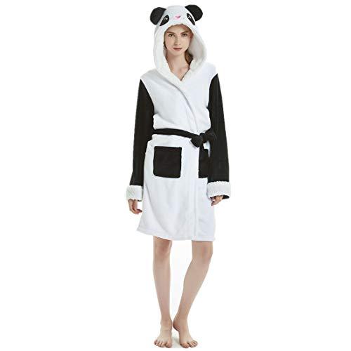 JMAHM Bademantel Morgenmantel Frau Pyjamas Frottee Robe Lighweight Cotton Soft Wrap Nachtwäsche mit Kapuze (L, Bunt - Panda)