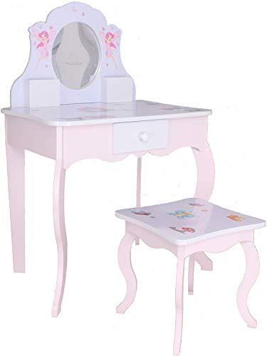 habeig Kinderschminktisch Kindertisch Prinzessin Kinder Mädchen Schminktisch für Kinder Frisiertisch (#426)