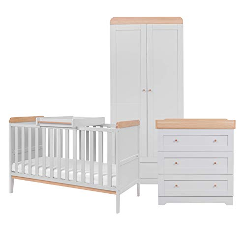 Tutti Bambini Rio Nursery Furniture Set | Baby Cot Bed with Cot Top Changer, Chest Changer, Wardrobe | Solid Wood Furniture (Dove Grey/Oak) Three Pieces