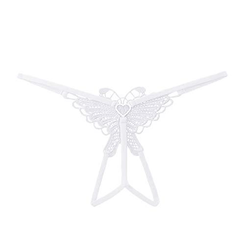 VICKY-HOHO Frauen sexy Dessous Spitze Open Tanga Höschen G-Pants Pyjamas Butterfly niedrige Taille Ausschnitt Hosen
