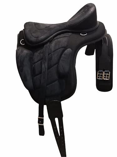 Little Pony Baumloser Sattel Cloudrider - Schwarz - 16 Zoll - inkl. Sattelgurt und Steigbügelriemen - Wanderreitsattel, Kaltblutsattel - Ponysattel