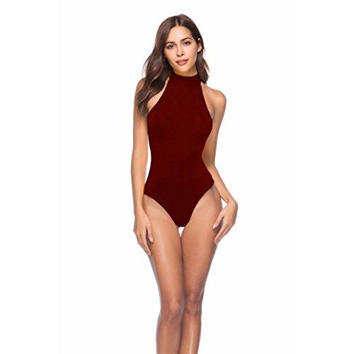 SHOBDW Mono de Mujer,Sexy Mujeres sin Mangas Body Backless Vendaje Clubwear Playsuit Mono (Vino Rojo, M)