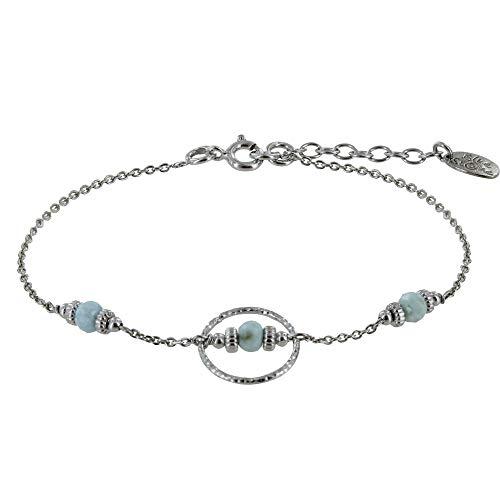 Schmuck Les Poulettes - Rhodium Silber Armband Gemeißelter Ring DREI Kleine Larimar Facetten Perlen und Zebra Ringen