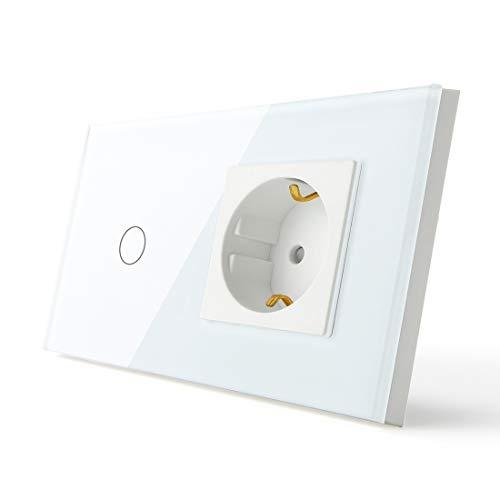 BSEED Normal Touch Wandlichtschalter 1 Fach 1 Weg und 16A Steckdose Glasscheibe Weiß