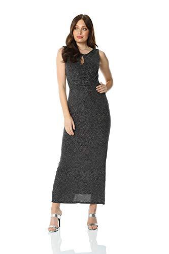 Roman Originals Maxi-jurk glitter sleutelgat ronde hals - dames mode jurken elegant elegant galas avonds party's winter Kerstmis speciale gelegenheden