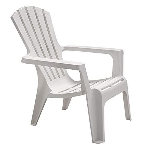 Poltrona da giardino relax in plastica design moderno colorata (White)