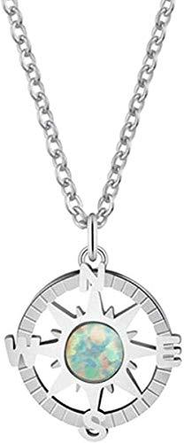 BEISUOSIBYW Co.,Ltd Halskette Mode One Direction Round Circle Compass mit grünem Opal Stone Charm Halskette Vintage Accessoires