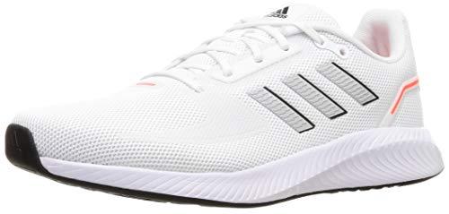 adidas Herren Runfalcon 2.0 Running Shoe, Cloud White/Silver Metallic/Solar Red, 43 1/3 EU