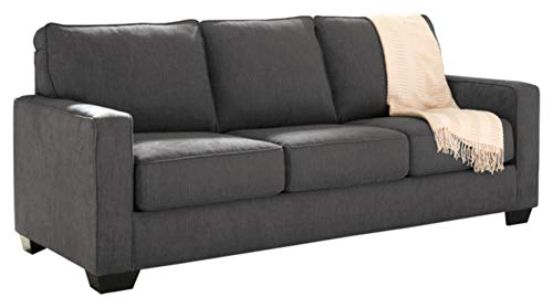 Signature Design by Ashley - Zeb Contemporary Microfiber Sleeper Sofa - Full Size Mattress - Charcoal