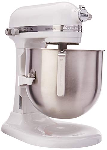 KitchenAid KSM8990WH 8-Quart Commercial Countertop Mixer, 10-Speed, Gear-Driven, White (Renewed)