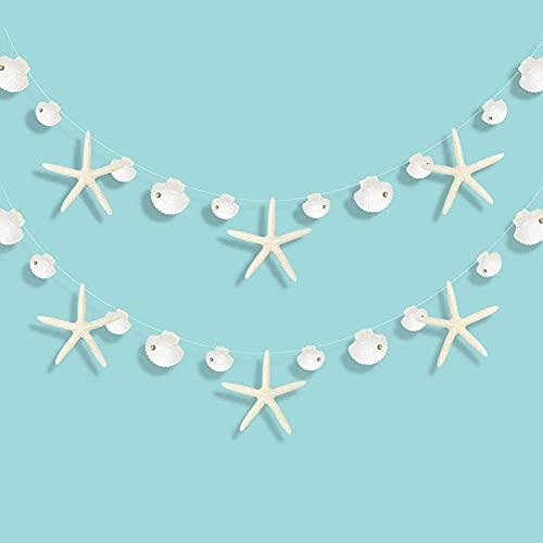 Decor365 Flat Paper White Finger Starfish Sea Shell Garland Ocean Coastal Nautical Party Decoration Starfish Cutouts Hanging Bunting Banner Under The Sea Mermaid Wish Birthday Beach Wedding Decor