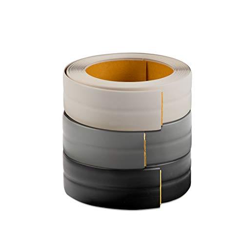 Knickwinkel Sockelleiste Kiel selbstklebend - PVC Rolle 18,5x18,5 mm x 5 m Länge - Weichsockelleiste mit Knickprofil - Weiß