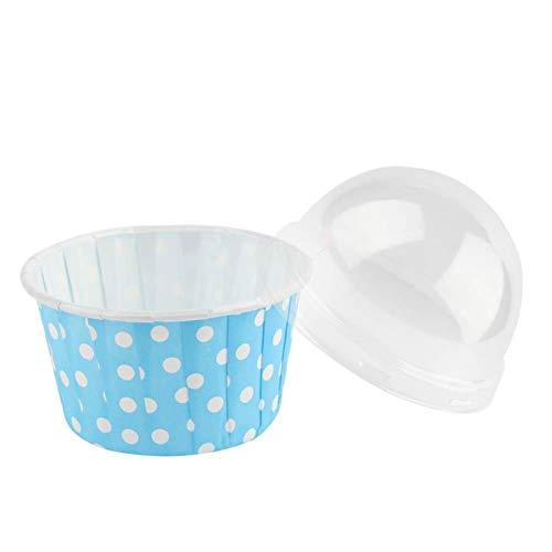 Papel desechable para mini magdalenas, 100 tazas redondas para hornear pasteles de 2,68 x 2,68 x 3,11 pulgadas, fundas para muffins, tazas pequeñas para hornear, con tapa abovedada(azul)