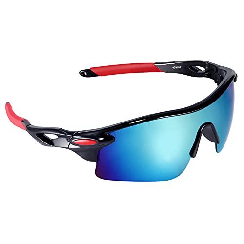 VABNEER Gafas Ciclismo Gafas de Sol Deportivas Gafas de Sol para Hombre y Mujer Gafas de Montar al Aire Libre (Rojo Azul)