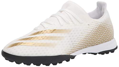 adidas Men's X Ghosted.3 Turf Soccer Shoe, White/Gold Melange/Black, 8