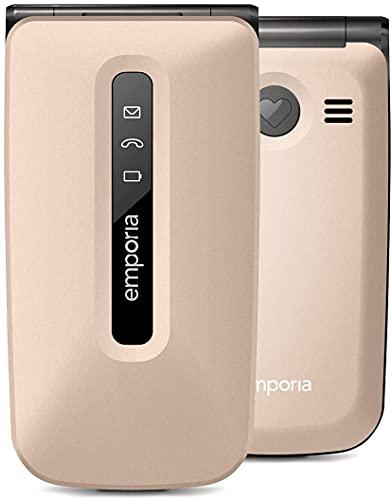 EmporiaFLIP - Telefono Cellulare, Display 2.2' a colori, Tasti Grandi, Tasto SOS, Chmpagner (Italia)
