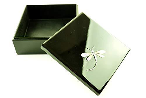 vnhomeware Boîte décorative orientale en bois avec couvercle, faite à la main, laquée brillante et incrustée, noire, de forme carrée, taille moyenne (H021M)