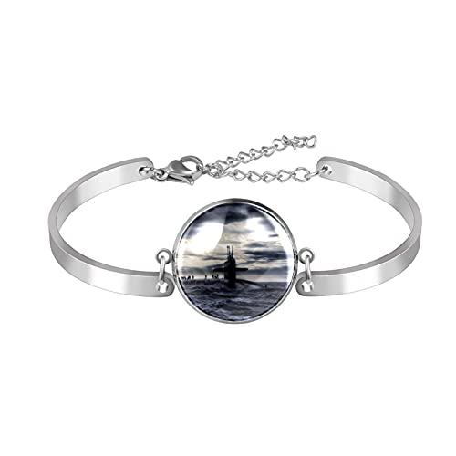 Bracelet à breloques en acier inoxydable - Taille réglable - Motif sous-marin sur une mer sombre - Pour femme et fille