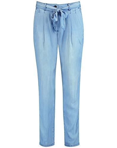 Taifun Damen Lässige Hose mit Bindegürtel in Jeans-Optik lässige Passform Blue Denim 38