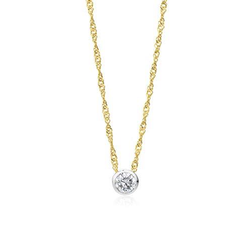 Miore Kette Damen 0.42 Ct Diamant Halskette mit Anhänger Solitär Diamant/Brillant bicolor Kette aus Weißgold und Gelbgold 14 Karat / 585 Gold, Halsschmuck 45 cm lang