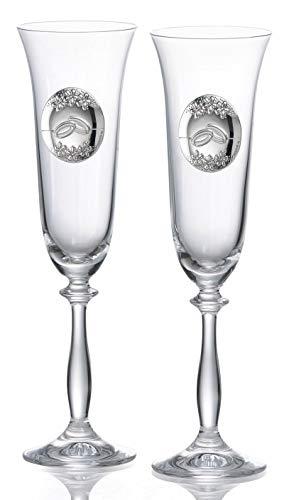 Copas personalizadas para novios en cristal de Bohemia
