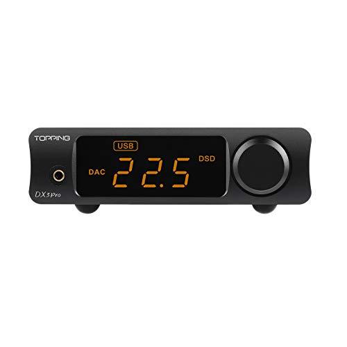 Topping DX3 Pro Amplificatore per cuffie DAC DSD512 PCM32bit / 768kHz XMOS XU208 APTX Decoder Bluetooth per cuffie Amplificatore per cuffie (Nero)