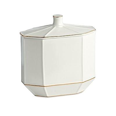 Kassatex St. Honore Porcelain Bath Accessory Set Lotion Dispenser, Tumbler, Toothbrush Holder, Soap Dish, Cotton Jar, Tray, Tissue Holder, Waste Basket
