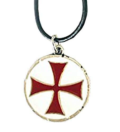Ciondolo Templare Smaltato con Croce Rossa e Fondo Bianco - Finitura in Argento Antichizzato Anallergico