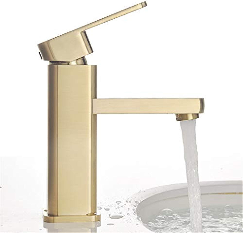 Kupfer gebürstetem Gold Becken Wasserhahn Becken Einlochmontage Warm- und Kaltwasserhahn hohen und niedrigen Abschnitt,Short