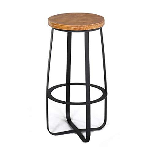 Sgabelli da Bar Sgabello Bar Sgabelli da Bar Rotondi da Cucina in Legno Rotondi industriali da Cucina in Ferro Nero Vintage artistici in Ferro, 40 * 72 cm