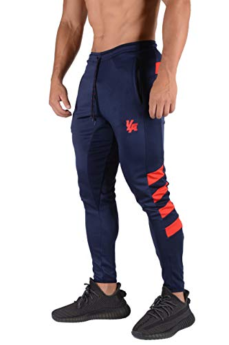 YoungLA Original Soccer Pants for Men and Women | Training Joggers Fitted Sweatpants | Tapered Workout Gym 201 X-Large Navy/red