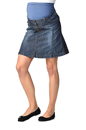 Christoff Designer Jeans-Rock - Mailand - leicht ausgestellt Damen Jeansrock Umstandsmode, Dark Wash, 34