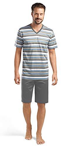 Hanro Herren Oscar Short Pajama 75534 Pyjama Set, Mittelblaue Streifen, X-Large