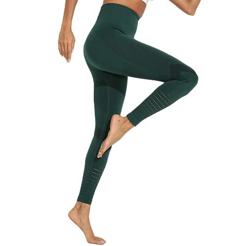 QTJY Señoras Deportes Fitness Pantalones de Yoga Leggings de compresión gradiente Pantalones sin Costuras Estiramiento de Cintura Alta Pantalones de Fitness para Correr AS