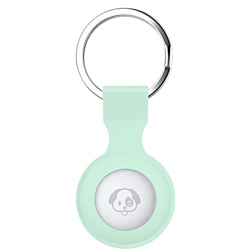 (1 Pack) Auyuiiy Secure Holder mit Schlüsselanhänger aus Silikon kompatibel mit AirTag ,A-Eisblau