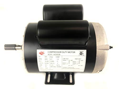 2 HP SPL 3450 RPM, 56 Frame, 120/240V, 15/7.5Amp 5/8″ Shaft, Single Phase NEMA Air Compressor Motor – EM-02