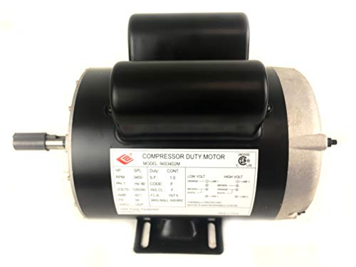 2 HP SPL 3450 RPM, 56 Frame, 120/240V, 15/7.5Amp 5/8' Shaft, Single Phase NEMA Air Compressor Motor - EM-02