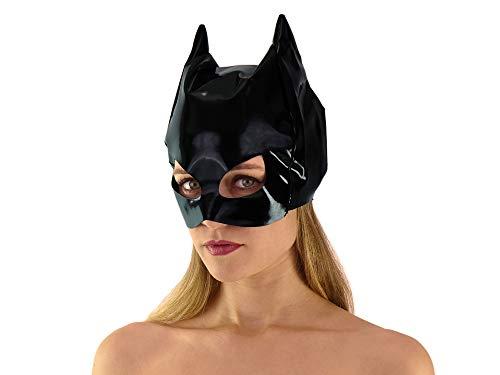 Schwarze Lack Katzenmaske glänzend Katzen Maske Catwoman Maske Cat Mask