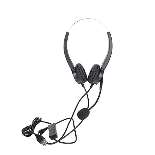 Cloudbox Auriculares telefónicos -VH530D-Auriculares telefónicos USB Auriculares Ajustables con micrófono con cancelación de Ruido