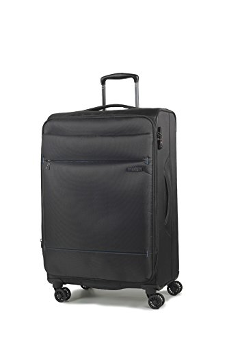 Rock 83cm Deluxe-Lite Super Lightweight Expanding 8 Wheel Spinner Luggage Black Large
