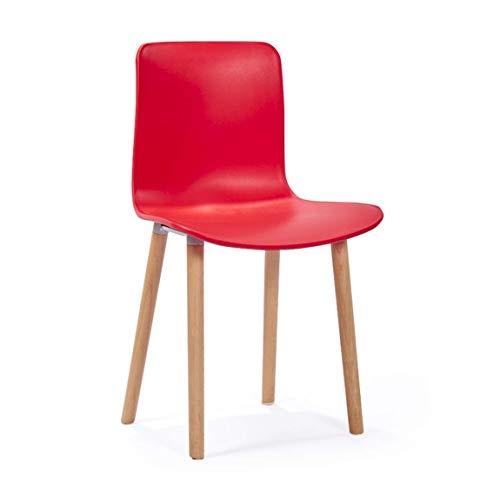 Tabourets hauts Chaises, tabourets de bar en bois massif avec fauteuil de salon Simple Home Coffee Chaise de réception de bureau (multicolore en option) Niveau d'énergie A ++++ (Color : Red)