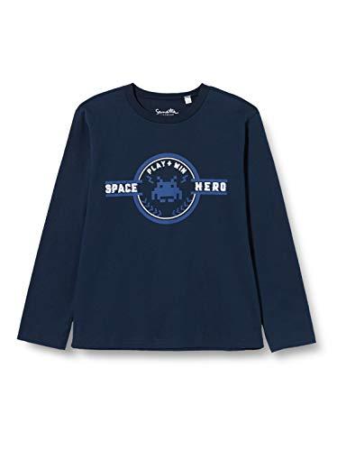 Sanetta Jungen Shadow Blue Kidswear Langarm-Shirt in dunkelblau mit coolem Print auf der Brust, blau, 098