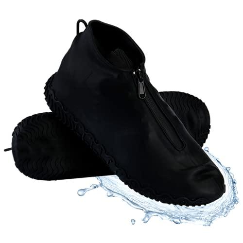 Waterproof Shoe Covers, Reusable Foldable Not-Slip Rain Shoe Covers with Zipper,Shoe Protectors Overshoes Rain Galoshes for Men and Women (L (Women 7.5-11, Men 6.5-10.5), Black)