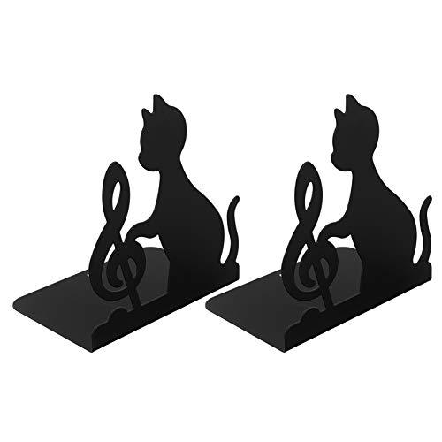 WINOMO Buchstützen Eisen Dekorative rutschfest Katze Musik Note Buchhalter Regal Bookends Buchstopper für DVDs Magazine Haus Büro Deko 1 Paar