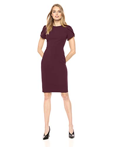 Calvin Klein Women's Tulip Sleeved Sheath Dress, Aubergine, 10