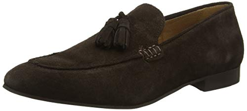 H by Hudson Mens Bolton Slip On Suede Smart Office Work Tassel Shoes - Dark Brown Suede - 13