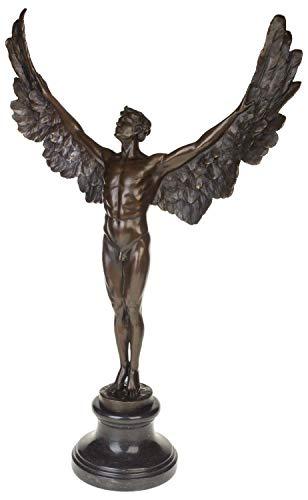 aubaho Bronzeskulptur Ikarus Mythologie Engel Flügel Bronze Figur Statue im Antik-Stil