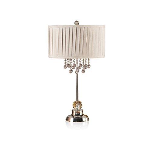 JXXDQ-Table lamp Europäische Kristall Große Tischlampe Schlafzimmer Nacht Schreibtischlampe Warme Arbeitszimmer Mode Pendelleuchten Wohnzimmer Licht Dekoration Plissee Stoff Lampenschirm Beleuchtung
